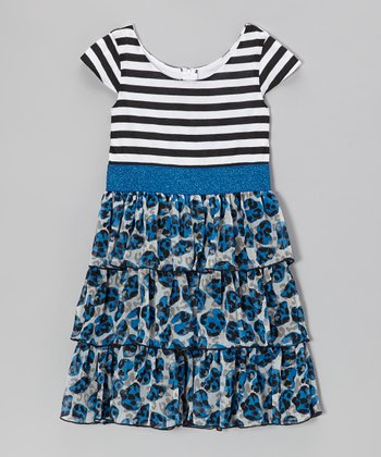 Black & Blue Stripe Tiered Dress - Girls
