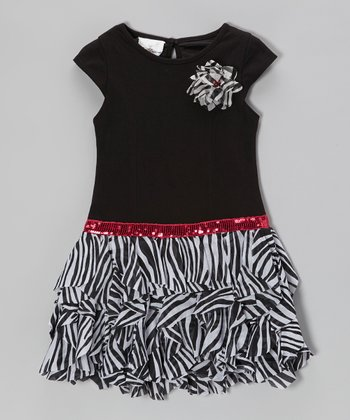 Black & White Zebra Tiered Dress - Girls