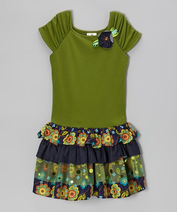 Olive & Navy Floral Tiered Dress - Girls
