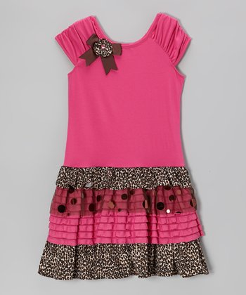 Fuchsia & Leopard Tiered Dress - Girls