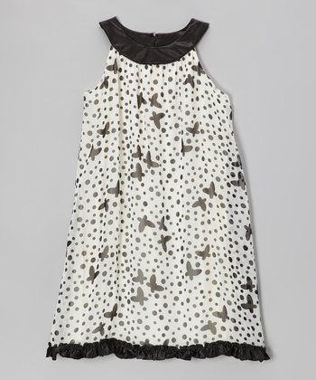 Ivory & Black Butterfly Chiffon Yoke Dress - Girls