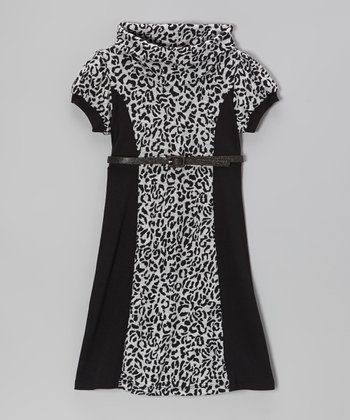 Gray & Black Cheetah Cowl Neck Dress - Girls