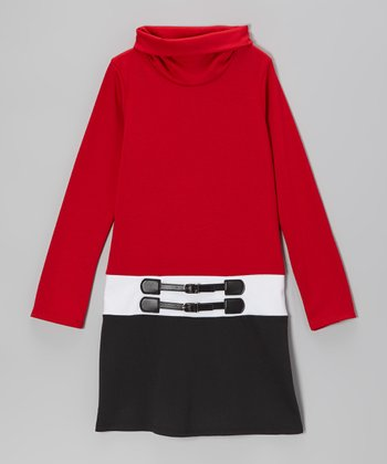 Red & Black Turtleneck Dress - Girls