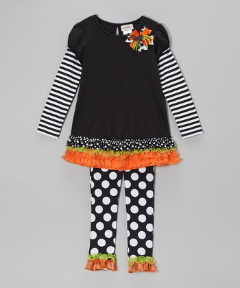 Black & Orange Ruffle Layered Tunic & Polka Dot Leggings - Infant & Girls