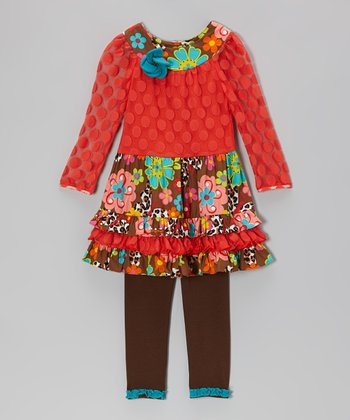 Orange & Brown Floral Ruffle Tunic & Leggings - Toddler & Girls