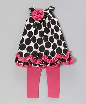 Fuchsia & Black Polka Dot Yoke Dress & Leggings - Infant