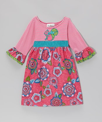 Pink Squirrel & Flower Dress - Infant