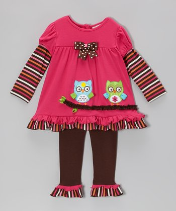 Fuchsia & Brown Owl Layered Tunic & Leggings - Infant & Toddler