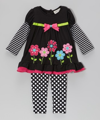 Black & Fuchsia Flower Layered Top & Leggings - Toddler