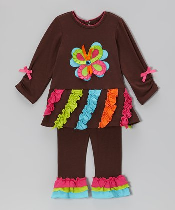 Brown Butterfly Ruffle Top & Leggings - Infant & Girls