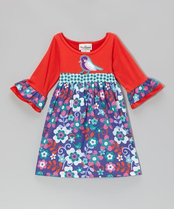 Red & Turquoise Bird Dress - Infant & Girls