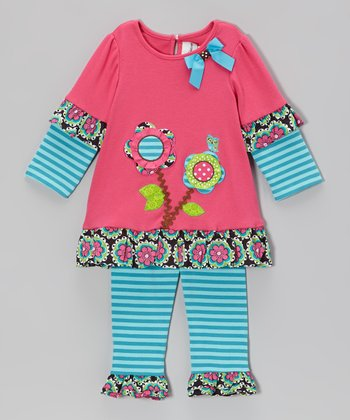 Fuchsia & Turquoise Floral Tunic & Leggings - Toddler & Girls