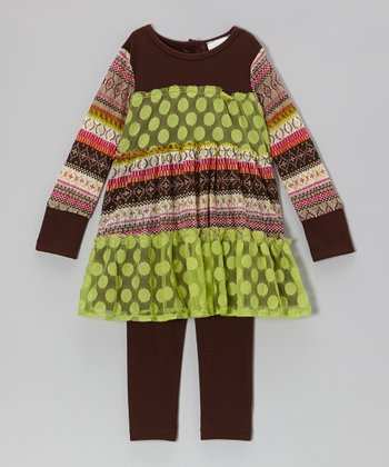 Lime & Brown Polka Dot Tiered Tunic & Leggings - Infant, Toddler & Girls