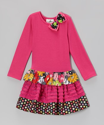 Fuchsia Floral Tiered Dress - Girls