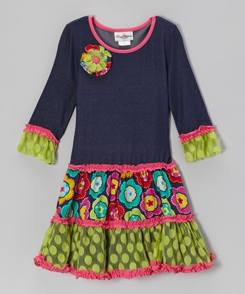 Denim & Lime Drop-Waist Dress - Girls