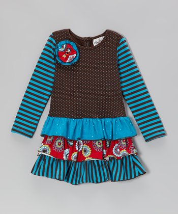 Brown & Turquoise Tiered Dress - Girls