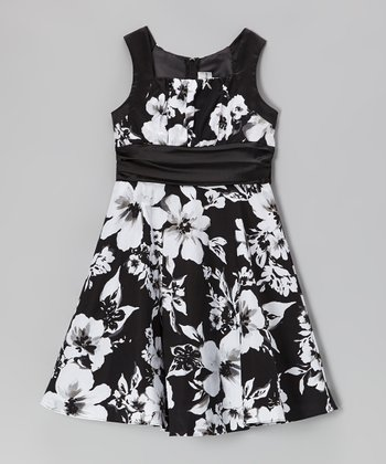 Black & Ivory Floral Emma Dress - Girls
