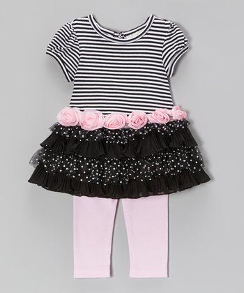 Black & Pink Stripe Tiered Dress & Leggings - Infant
