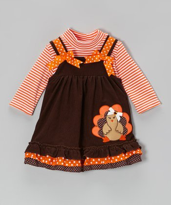 Orange Stripe Bodysuit & Brown Turkey Jumper - Toddler