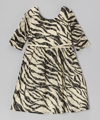 Ivory & Black Zebra Dress - Girls