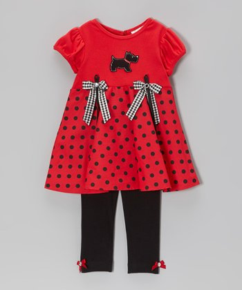 Red & Black Scottie Bow Tunic & Leggings - Infant