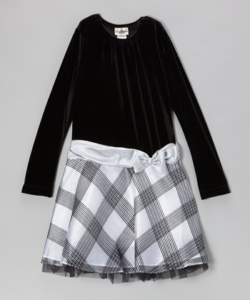 Black & Sliver Plaid Dress - Girls