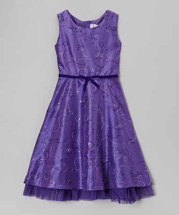 Purple Embroidered Taffeta Dress - Girls