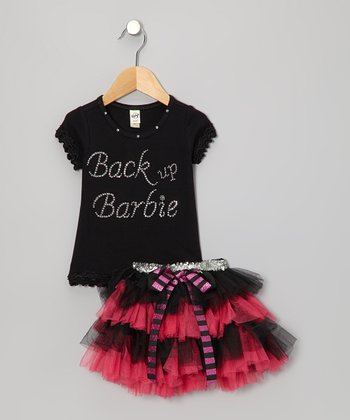 Black 'Back Up Barbie' Top & Red Tutu - Infant, Toddler & Girls