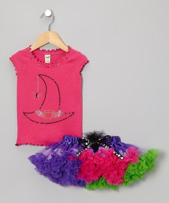 Pink Witch Top & Purple Tutu - Infant, Toddler & Girls