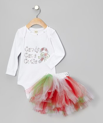 White 'Candy Cane Cutie' Bodysuit & Tutu - Infant & Toddler