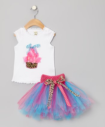 White Leopard Cupcake Tee & Blue Tutu - Infant, Toddler & Girls