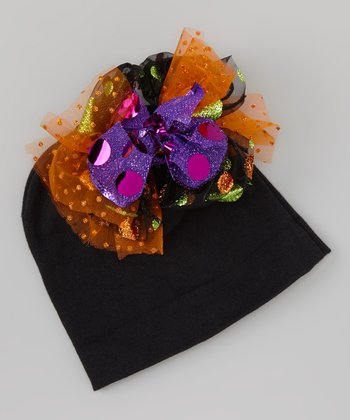Black & Purple Glitter Bow Beanie