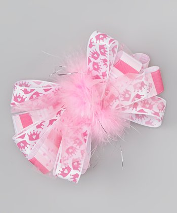 Pink Crown Marabou Bow Clip
