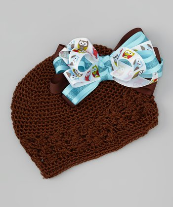 Brown & Blue Owl Bow Beanie