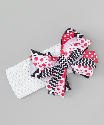 Black & Pink Cross-Pattern Headband