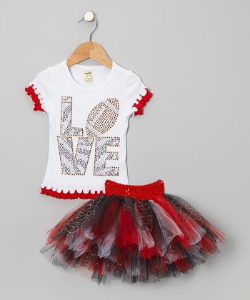White Football 'Love' Tee & Black Tutu - Infant, Toddler & Girls