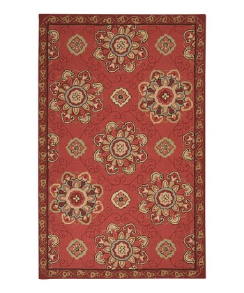 Red Rain Ornate Flower Indoor/Outdoor Rug