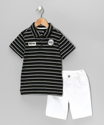 Black Stripe Polo & White Shorts - Toddler & Boys