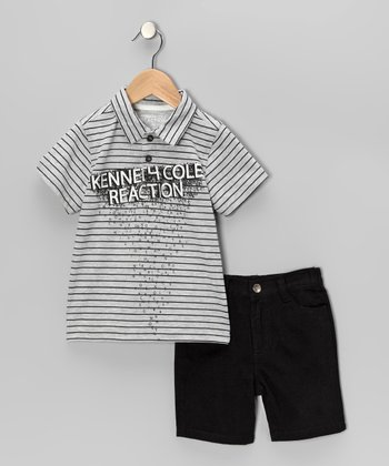 White & Black Stripe 'Reaction' Polo & Shorts - Toddler