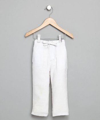 White Linen Drawstring Pants - Toddler & Boys