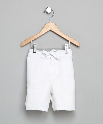 White Linen Drawstring Shorts - Infant, Toddler & Boys