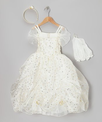 Ivory & Gold Star Princess Dress-Up Set - Toddler & Girls