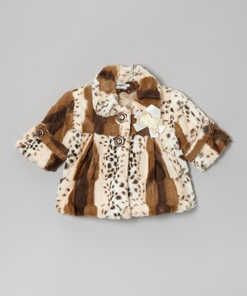 Brown & Tan Leopard Faux Fur Coat - Infant, Toddler & Girls