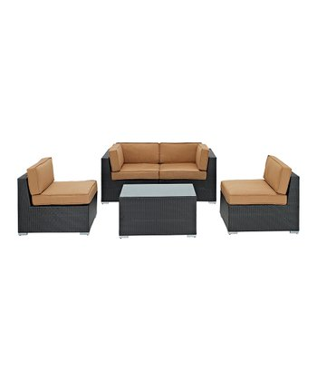 Espresso Camfora Five-Piece Sectional Love Seat Set