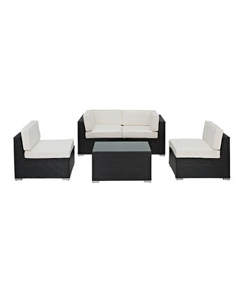 White Camfora Five-Piece Sectional Love Seat Set