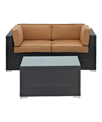 Espresso Camfora Three-Piece Sectional Love Seat Set