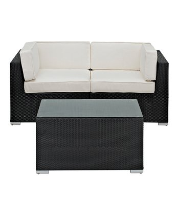 White Camfora Three-Piece Sectional Love Seat Set