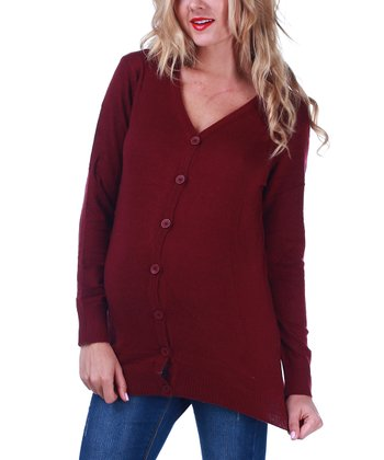 Burgundy Crochet-Back Maternity Cardigan