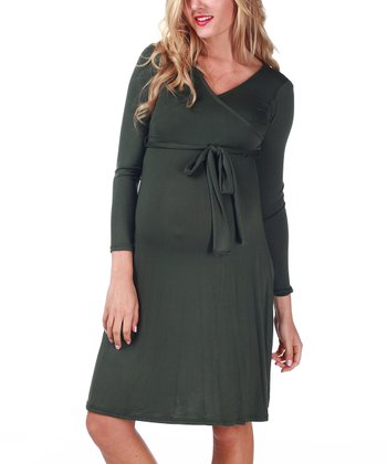 Olive Green Front-Tie Maternity & Nursing Dress