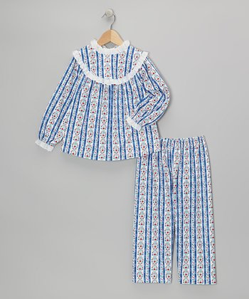 Royal Blue Tyrolean Pajama Set - Girls